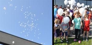 vor Turnierbeginn lassen die Teilnehmer 100 Luftballons steigen - in Gedenken an die Geiselnahme von Beslan
