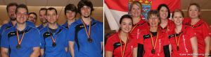 Deutsche Meisterschaft der Ländermannschaften im Bowling - die Sieger: das Herren-Team aus Bayern und die Damen aus Hessen