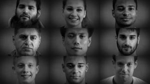 """Die Gesichter einer Anti-Rassismus Spotlkampagne vom sportfanat.de Eastercup Berlin-Moabit 2015: """"Gib Rassismus einen Korb!"""""""