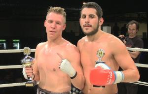 Mickel Nietzke ist zufrieden nach seinenm Kampf gegen Aleksandar Todorovik bei der Heroes Fightnight