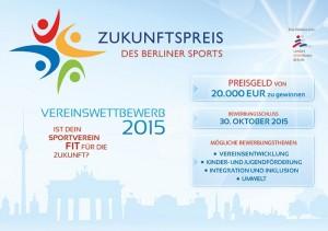 Beim Zukunftspreis des Berliner Sports werden Preisgelder in Höhe von 20.000 Euro ausgelobt!